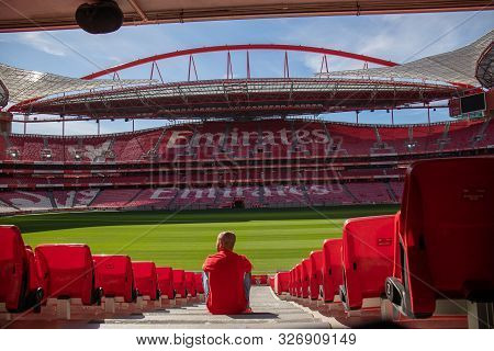 October 6th, 2019, Lisbon, Portugal - A Man Sits At The Stairways Of The Stadium Of Sport Lisboa And