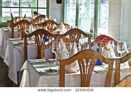 Table Is Set In A Restaurant