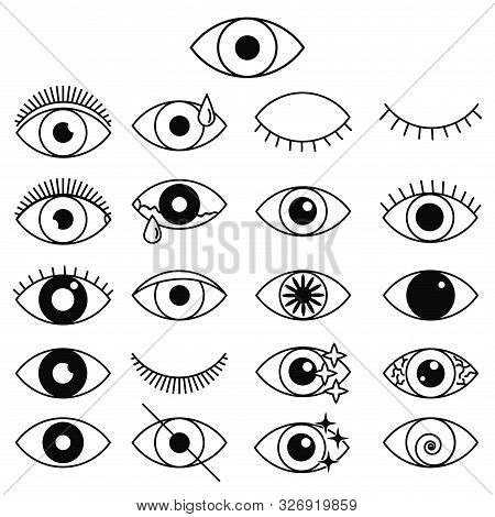 Set Of Outline Eye Icons. Open And Closed Thin Line Eyes, Sleeping Eye Shapes With Eyelash, Supervis