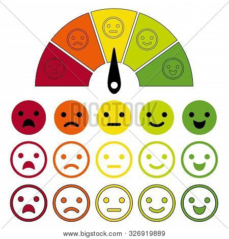 Emotion Scale. Emotions Dial Measuring, Emotive Meter, Emotes Score For Customer Satisfaction From E