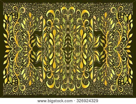 Forest Mandala Trippy Colorful Fractal From Branches And Leaves, Color Gradient Outline, On Dark Gre