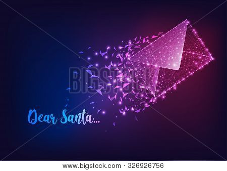 Letter To Santa Claus Background With Glowing Low Polygonal Flying Mail And Text Dear Santa.