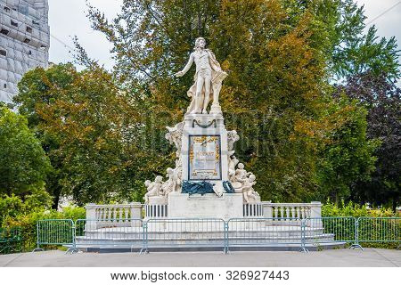 The Statue Of Composer Wolfgang Amadeus Mozart In Vienna, Austria