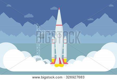 Rocket Taking Off Flat Vector Illustration. Spaceship Liftoff Testing, Space Exploration Program, In