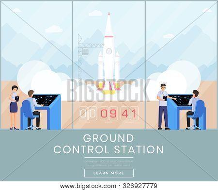 Ground Control Station Web Banner Template. Rocket Science, Space Exploration Program Website Landin