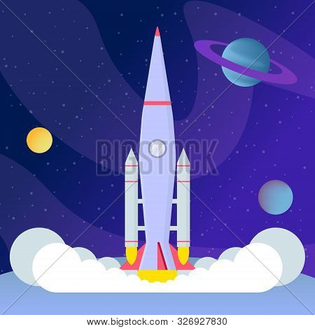 Rocket Liftoff, Landing Flat Vector Illustration. Cosmos Exploration Program, Space Expedition, Inte