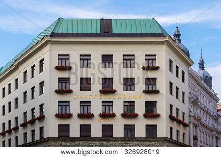 Vienna, Austria - September 1, 2019: Raiffeisen Bank Building Niederösterreich- Michaelerplatz 3, Vi