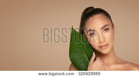Natural Beauty With Green Leaf.
