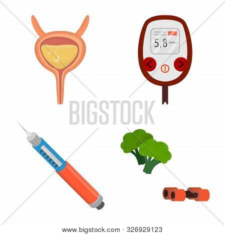 Vector Illustration Of Mellitus And Diabetes Sign. Collection Of Mellitus And Diet Vector Icon For S