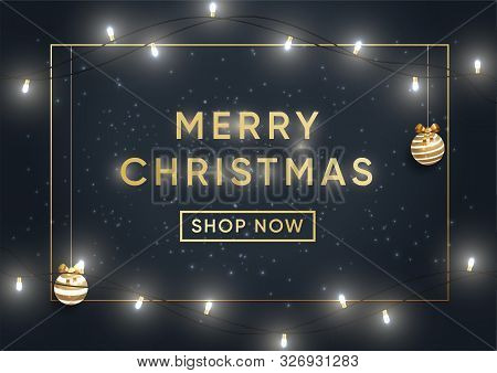 Christmas Shopping Sale Banner Vector Template. Seasonal Wholesale Advertisement, December Holiday D