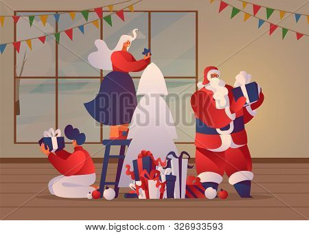Christmas Preparations Flat Banner Template. Woman Fitting Toys To Fir Tree, Santa Claus Holding Wra