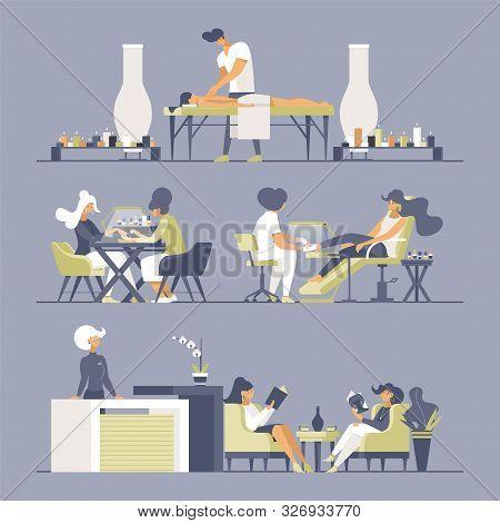 Beauty Salon Flat Vector Illustrations Set. Manicurists, Masseur, Receptionist And Customers Cartoon