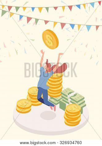 Lucky Jackpot Winner Vector Character. Joyful Girl, Cash Prize Owner, Honorarium Payee Isometric Car
