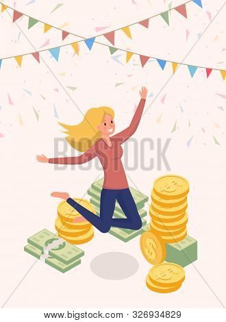 Joyfully Jumping Money Owner Vector Character. Happy Woman, Cash Prize Winner, Honorarium Payee Isol