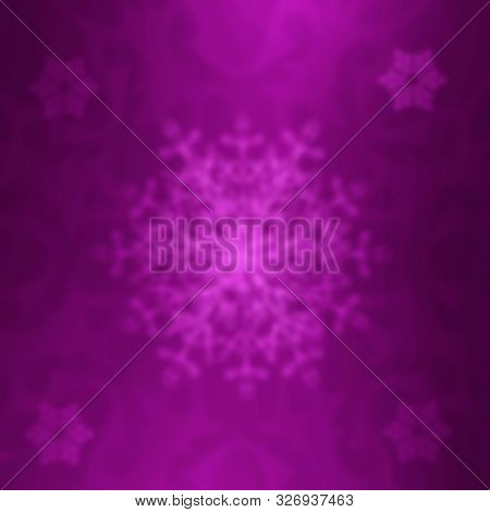 Bliurred Violet Festive Christmas Background. Blur Purple Abstract Backdrop With Lights And Snowflak