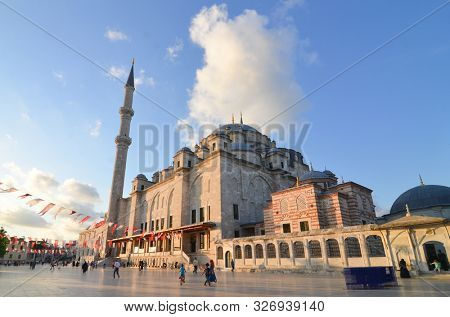 istanbul / Turkey -  June 17 2019: A wide angle view of historical Fatih Mosque in istanbul, Turkey