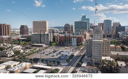 """Phoenix,Az,USA -9.28.19: Phoenix ranks as the 5th most populated city in the USA, It is the capital city of state Arizona. It is also known as """"Valley of the Sun""""."""