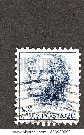 Seattle Washington - October 5, 2019: Blue 5 Cent Usa Postage Featuring George Washington, A Regular