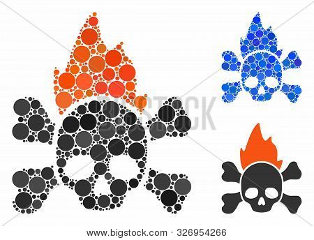 Hellfire Composition Of Round Dots In Various Sizes And Color Tinges, Based On Hellfire Icon. Vector