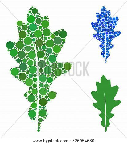 Oak Leaf Mosaic Of Small Circles In Various Sizes And Color Tints, Based On Oak Leaf Icon. Vector Sm