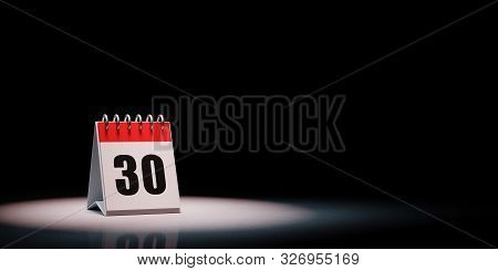 Red And White Single Day Desk Calendar Spotlighted On Black Background With Copy Space 3d Illustrati