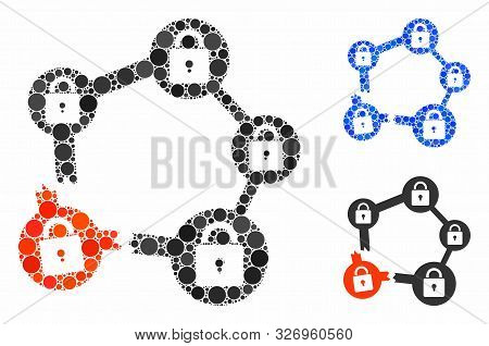 Broken Blockchain Network Composition Of Round Dots In Various Sizes And Color Tones, Based On Broke