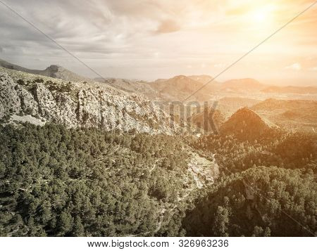 Beautiful birdeye view on forest in mountains at sunny day. Palme de Mallorca island.