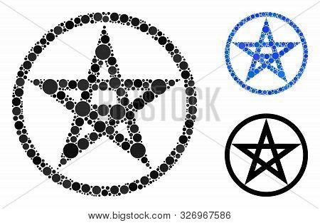 Star Pentacle Mosaic Of Spheric Dots In Various Sizes And Color Tinges, Based On Star Pentacle Icon.