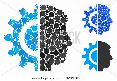 Android Robotics Composition Of Round Dots In Various Sizes And Shades, Based On Android Robotics Ic