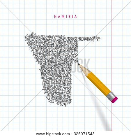 Namibia Sketch Scribble Map Drawn On Checkered School Notebook Paper Background. Hand Drawn Vector M
