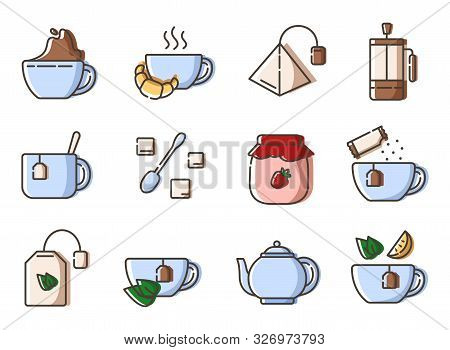 Set Of Simple Outline Icons With Tea Party Stuff - Tea Making Equipment, Cups, Kettle, Tea Bag, Fren