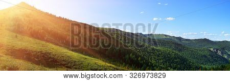 Natural Summer Landscape. Mountain Valley During Sunrise.