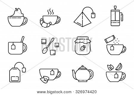 Set Of Simple Outline Icons With Tea Party Stuff - Tea Brewing Equipment, Cups, Kettle, Tea Bag, Fre