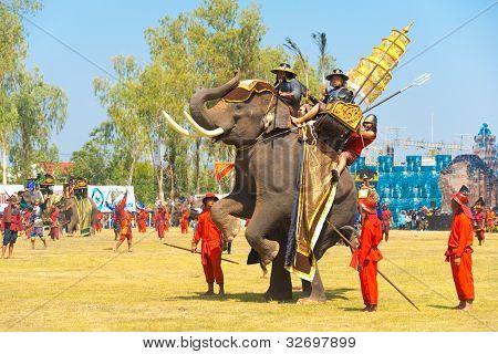 Thai King Elephant Up Rearing Hind Legs