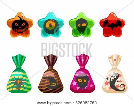 Set Halloween Sweets Colorful With Halloween Characters And Elements. Candies Lollipops Jelly Chocol