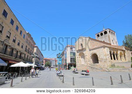 Segovia Spain - May 29, 2019: Unidentified People Visit Segovia Old Town In Segovia Spain