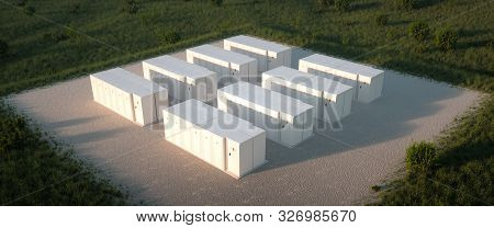 Concept Of Renewable Energy Battery Storage System In Nature. Drone Isometric View. 3d Rendering