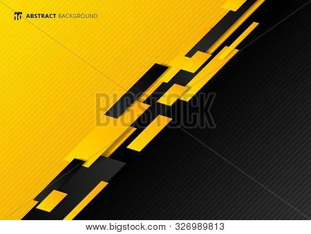 Abstract Technology Template Geometric Diagonal Overlapping Separate Contrast Yellow And Black Backg