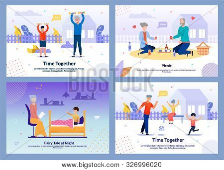 Grannies Spend Time Along And With Grandchild Together Motivational Banner Set. Grandmother Reading
