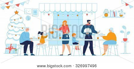 Family Generations Christmas Eve Dinner, Winter Holidays Celebration Traditions Trendy Flat Vector C