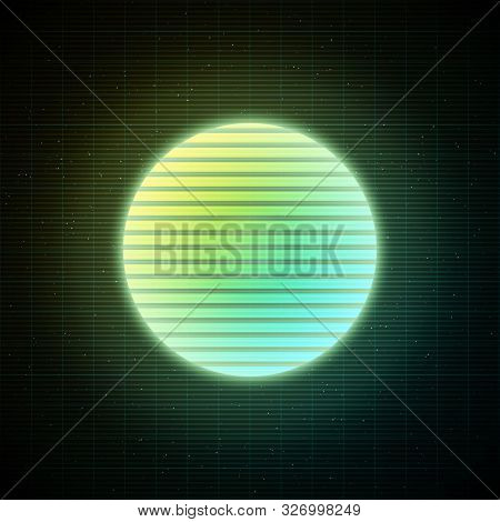 Retrowave Style Striped Sun With Yellow, Green And Blue Glowing In Starry Space With Laser Grid. Vap