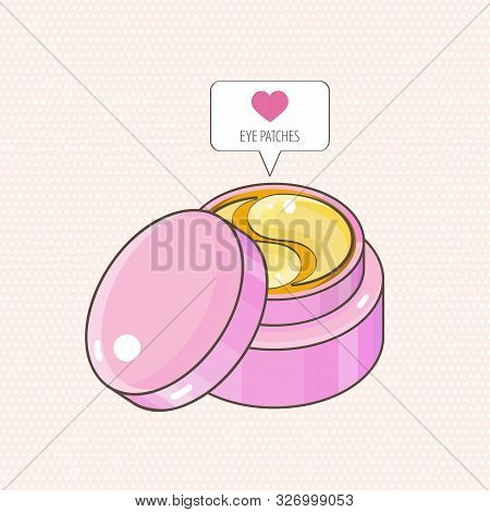 Hydrogel golden cosmetic eye patch in a pink jar. Icon like in the shape of a heart. Cosmetic product for skin. Patches under the eyes. ollagen mask. Korean cosmetics. poster