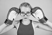 Smart and strong. Woman boxing gloves adjust eyeglasses. Win with strength or intellect. Strong intellect victory pledge. Know how defend myself. Confident her power. Strong mentally and physically poster