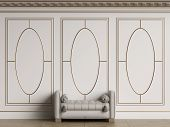 Classic interior walls with copy space.White walls with decorative ellipses in mouldings. Ornated cornice.Classic bench ottoman.Floor parquet.Digital Illustration.3d rendering poster