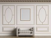 Classic interior walls with copy space.White walls with decorative ellipses in mouldings. Ornated cornice.Classic bench ottoman. Empty picture frame on the wall.Floor parquet.Digital Illustration.3d rendering poster