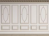 Classic interior walls with copy space.White walls with decorative ellipses in mouldings. Ornated cornice.Floor parquet.Digital Illustration.3d rendering poster