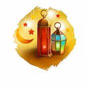 Ramadan Ramazan, Ramzan, Ramadhan, or Ramathan lamp and crescent moon and stars isolated digital art illustration. Greeting card design, t-shirt print postcard web design and invitation template. poster