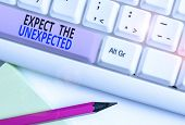Text sign showing Expect The Unexpected. Conceptual photo Anything can Happen Consider all Possible Events White pc keyboard with empty note paper above white background key copy space. poster
