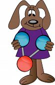 cartoon dog holding colorful water molecule - illustration poster