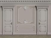 Classic interior walls with copy space.Pastel brown colors walls with ornated mouldings and classic cornice.Classic door.Floor parquet.Digital Illustration.3d rendering poster